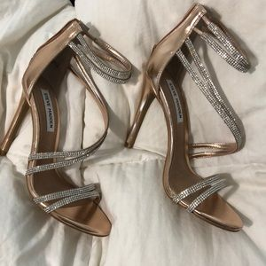 Beautiful Rhinestone Rose Gold Steve Madden heels